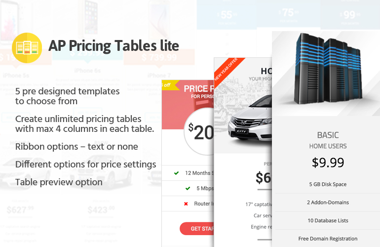 Responsive Pricing Table Builder Plugin for WordPress – AP Pricing Tables Lite