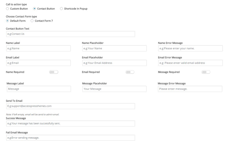 Apex notification bar right multiple text CTA Custom Contact form components