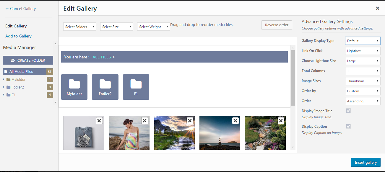WP Media Manager Create Gallery