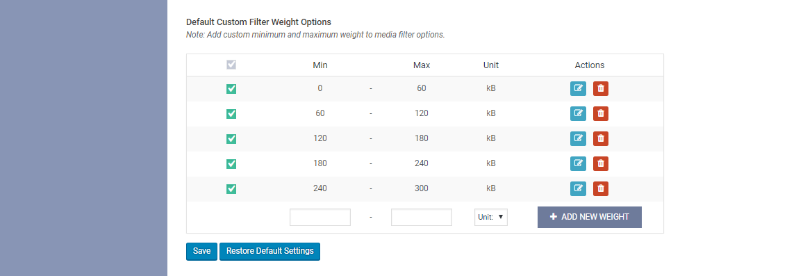 WP Media Manager Custom Filter Weight Settings