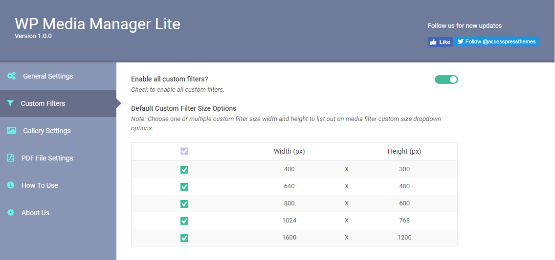 WP Media Manager Lite Custom Filter Size Settings