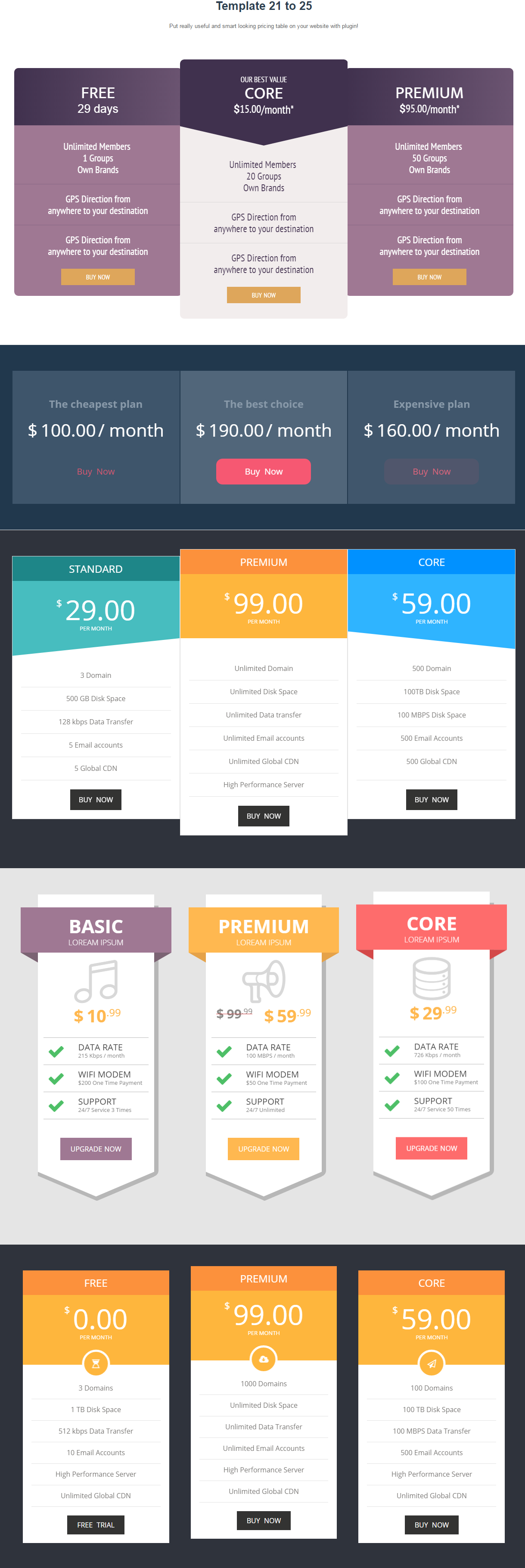 Responsive pricing table builder for wordpress ap for Table design responsive