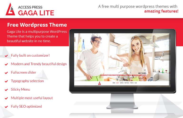 Gaga Lite-FREE one page parallax WordPress theme 2019