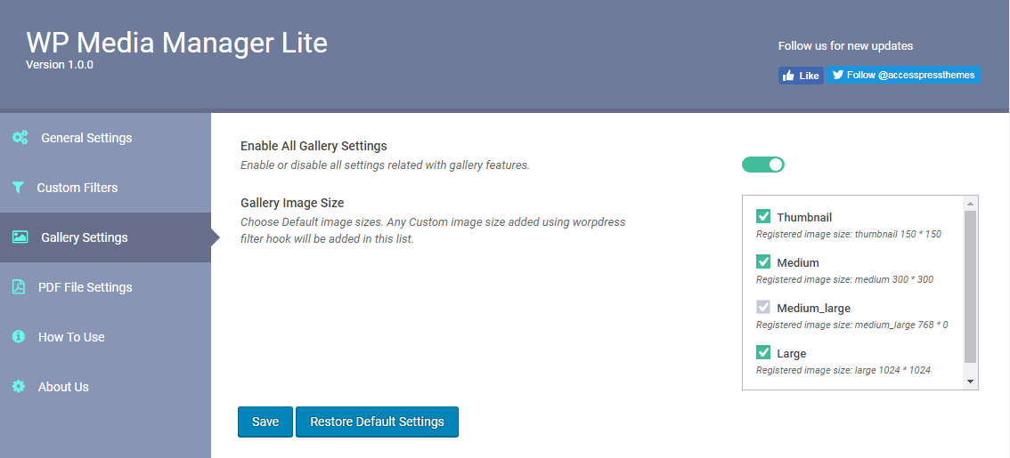 WP Media Manager Lite General Media Image Sizes Settings