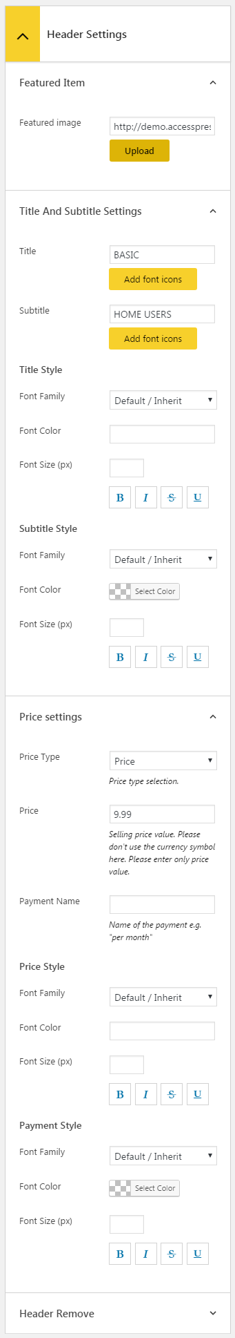 AP Pricing Tables Lite - Column Header settings