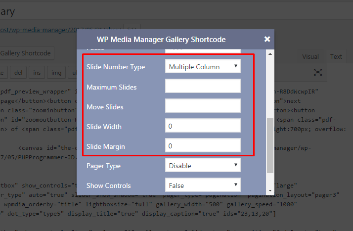 WP Media Manager General Media Shortcode Multiple Column settings