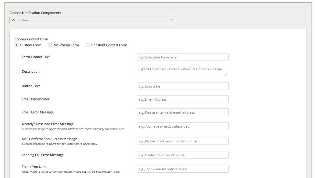 Apex notification bar right Opt in form components