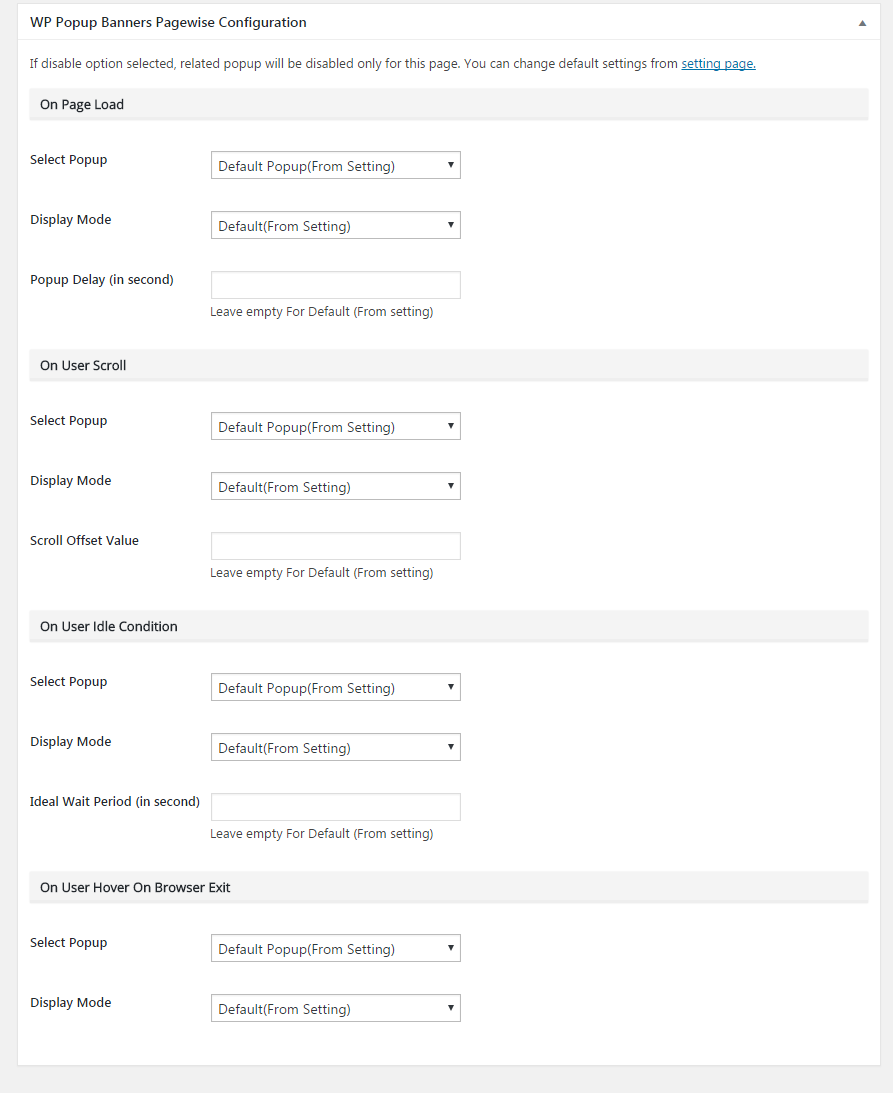 WP Popup Banner Page wise Settings
