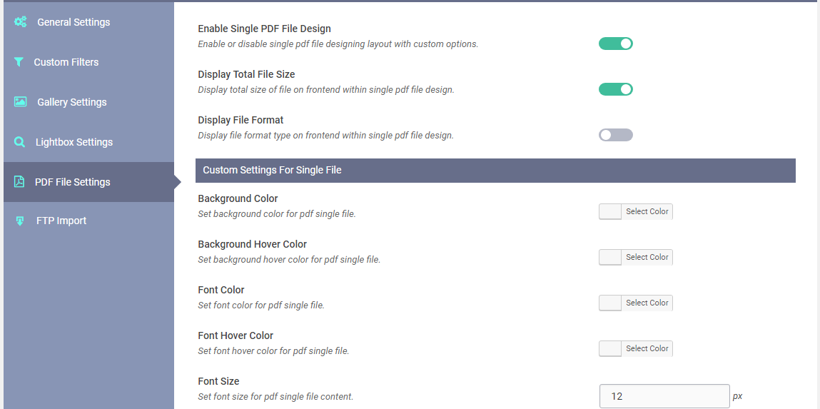 WP Media Manager PDF Single File Settings