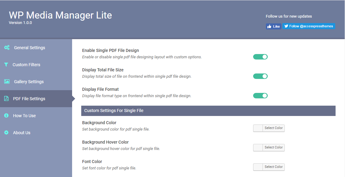 WP Media Manager Lite PDF Single File Settings