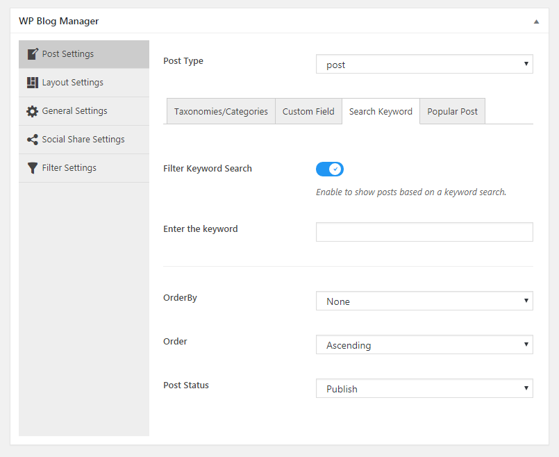 WP Blog Manager Search