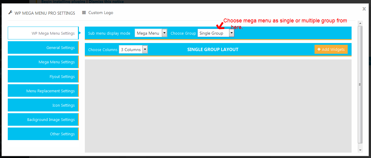 WP Mega Menu Pro Single Group settings