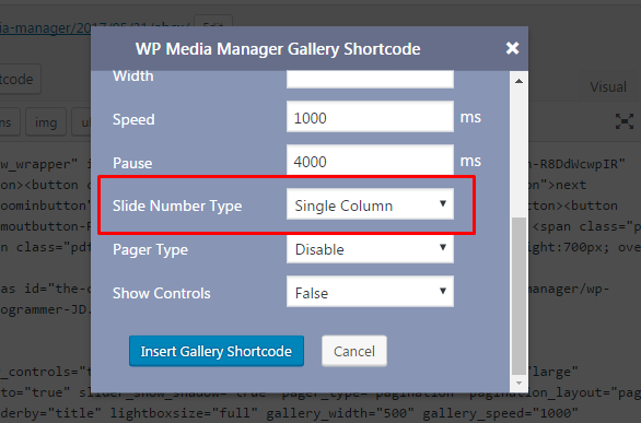 WP Media Manager General Media Shortcode Single Column settings