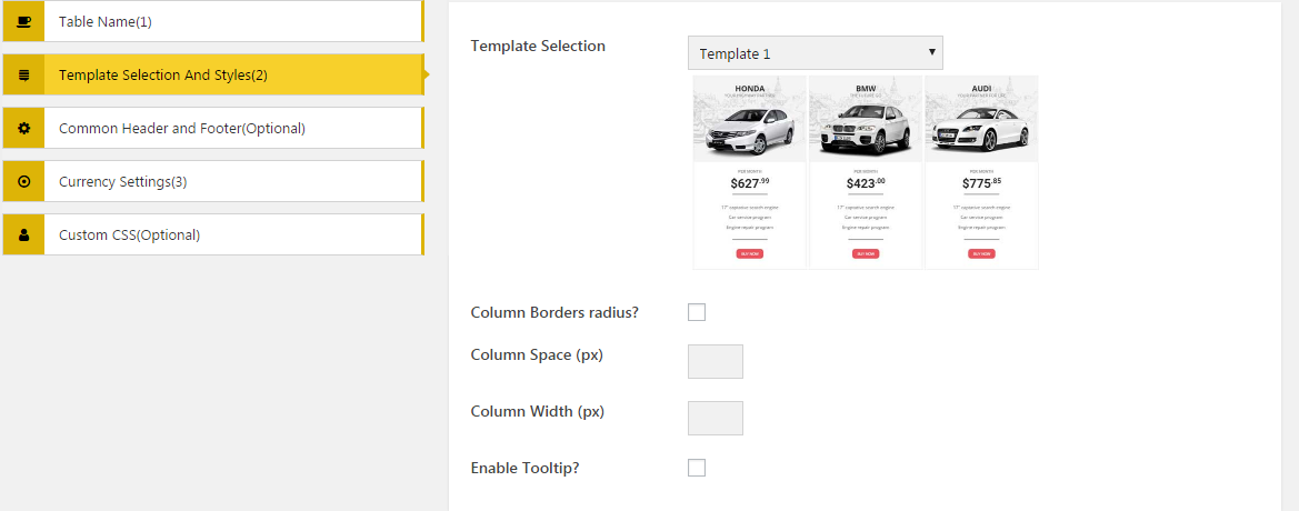 AP Pricing Tables- Template Selection and styles