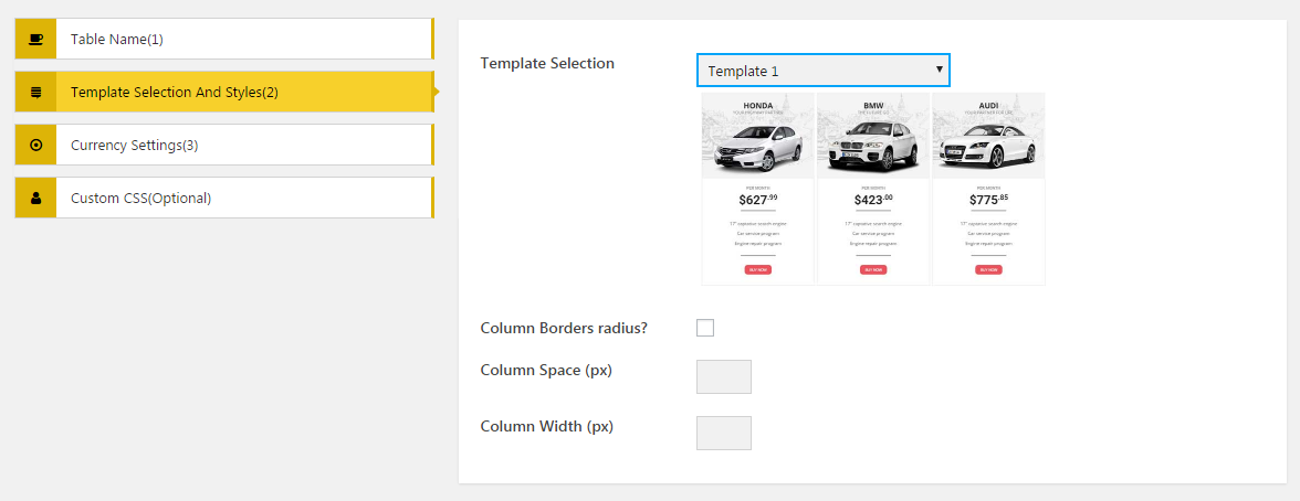 AP Pricing Tables Lite - Template Selection and styles