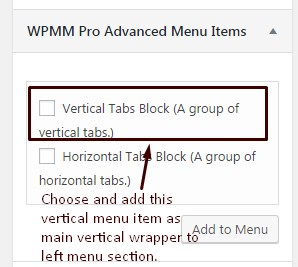 WP Mega Menu Pro Advanced Menu Item vertical Settings