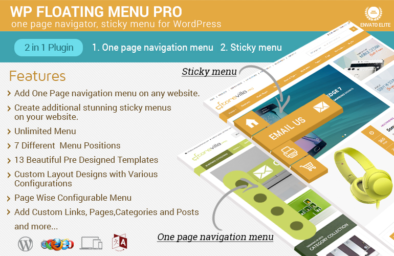 One Page navigator, sticky menu for WordPress – WP Floating Menu Pro