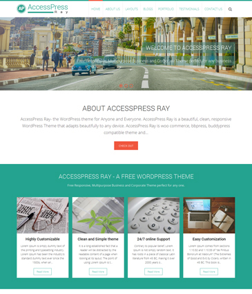 Free Responsive WordPress Business Theme – AccessPress Ray