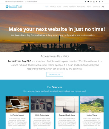 Responsive WordPress Business Theme (Premium) - AccessPress Ray Pro