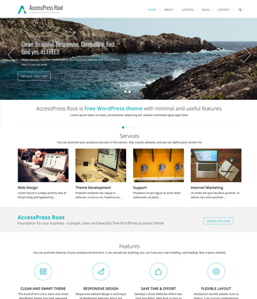 Free Minimalist WordPress Business Theme – AccessPress Root