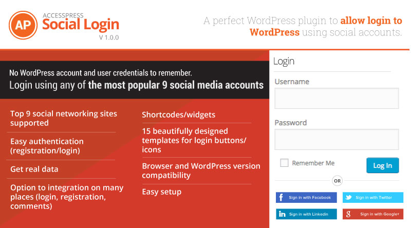 A perfect WP plugin that allows login to WordPress using social accounts- AccessPress Social Login