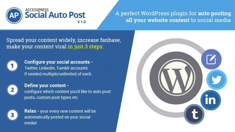 Premium WordPress Twitter/ Tumblr / LinkedIn Auto Post Plugin – AccessPress Social Auto Post