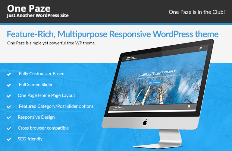 Are you looking for a FREE One Page WordPress theme- Grab One Paze right away!