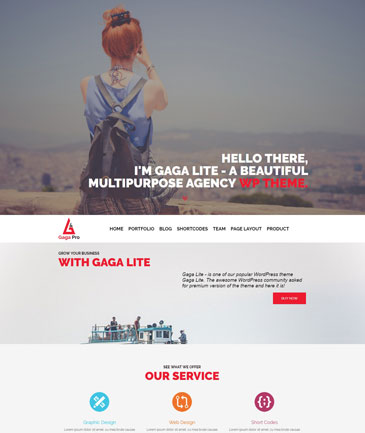 Gaga Pro - One Page Premium WordPress Theme
