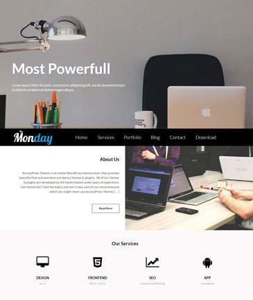 Free WordPress Multipurpose Theme - The Monday