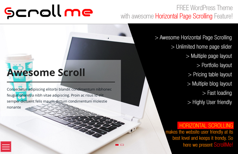 Free WordPress Horizontal Scrolling Theme – Scroll Me
