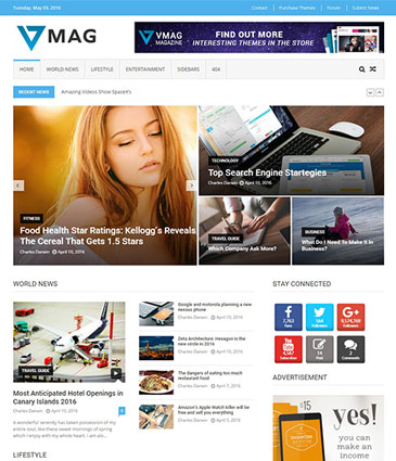 #1 Free WordPress Magazine Theme 2016 - VMag