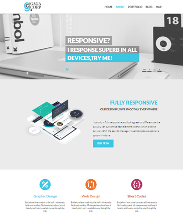 One Page Free WordPress Theme – Gaga Corp