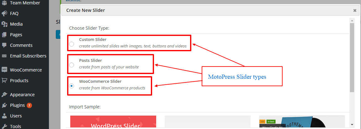 MotoPress Slider types