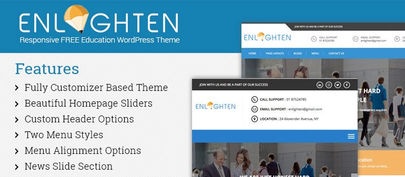 Enlighten- Feature-rich Free WordPress Education Theme for 2017