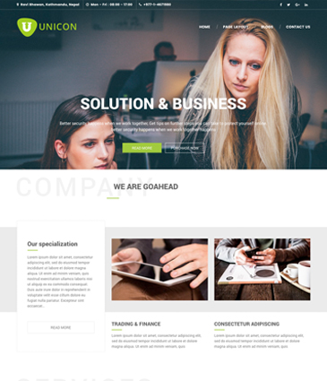Best Free WordPress Corporate / Business Responsive Theme – Unicon
