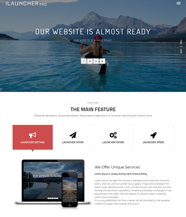 Premium WordPress Multi-purpose (landing page / coming soon) Theme - The Launcher Pro