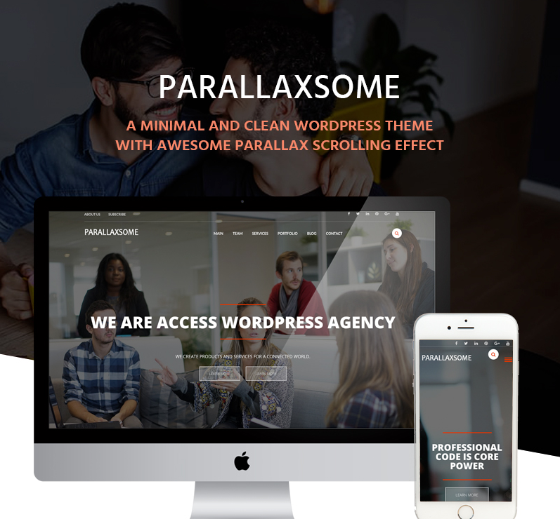 Parallaxsome Free One page WordPress Theme