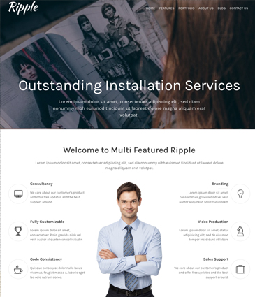 One Page Free WordPress Theme - Ripple