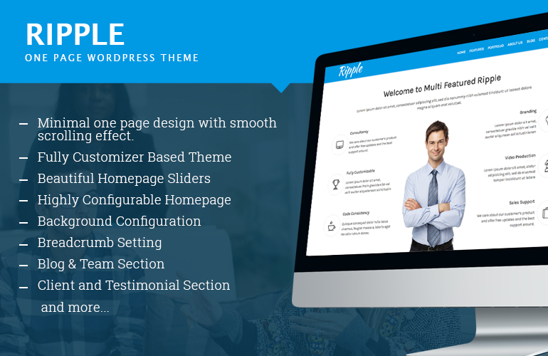 One Page Free WordPress Theme – Ripple