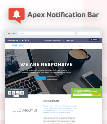 Responsive Notification Bar Plugin for WordPress – Apex Notification Bar