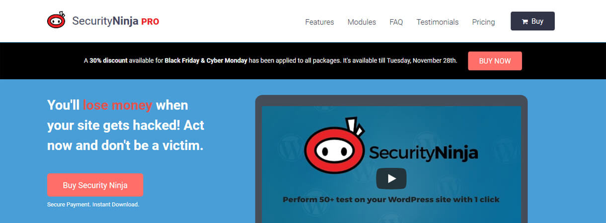 Security Ninja Pro WordPress Black Friday and Cyber Monday Deals