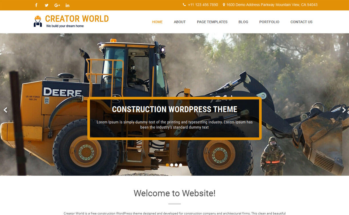 Creator World-Free Construction WordPress Theme