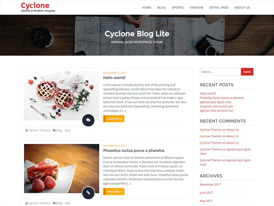Cyclone Blog Lite-Best Blog WordPress Themes
