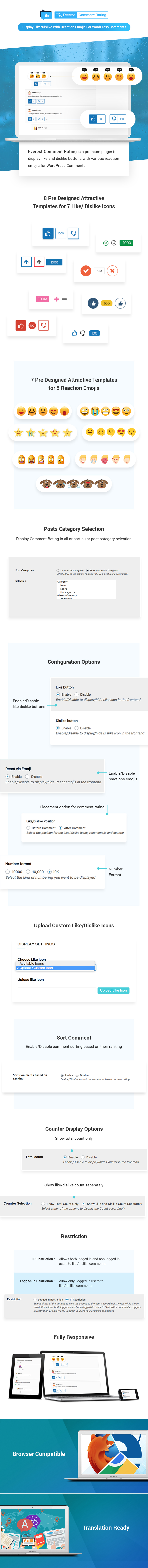 Display Like/Dislike Comment Rating and Reaction Emojis For WordPress – Everest Comment Rating