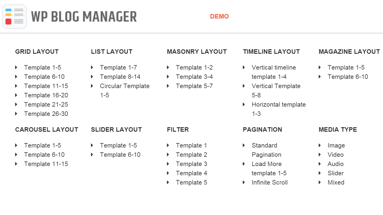wp blog manager layouts