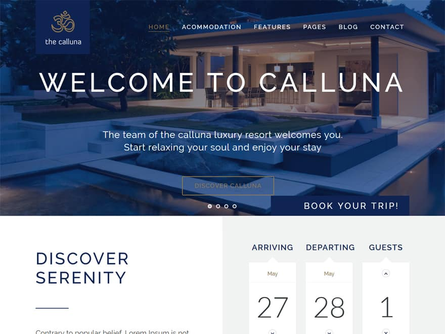 Hotel Calluna-Best Premium Hotel and Resort WordPress Themes