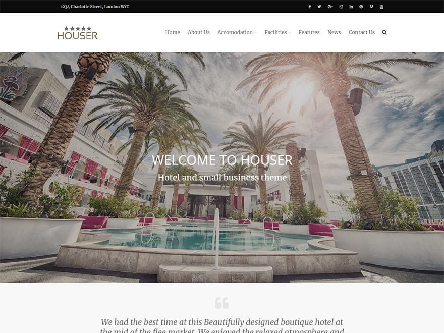 Houser-Best Premium Hotel and Resort WordPress Themes