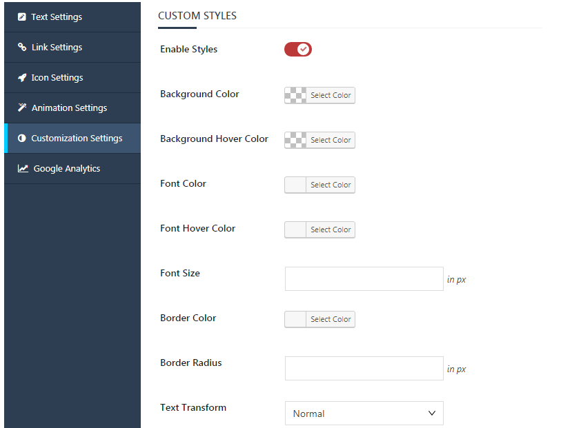 Inline CTA Builder Button Animation Settings