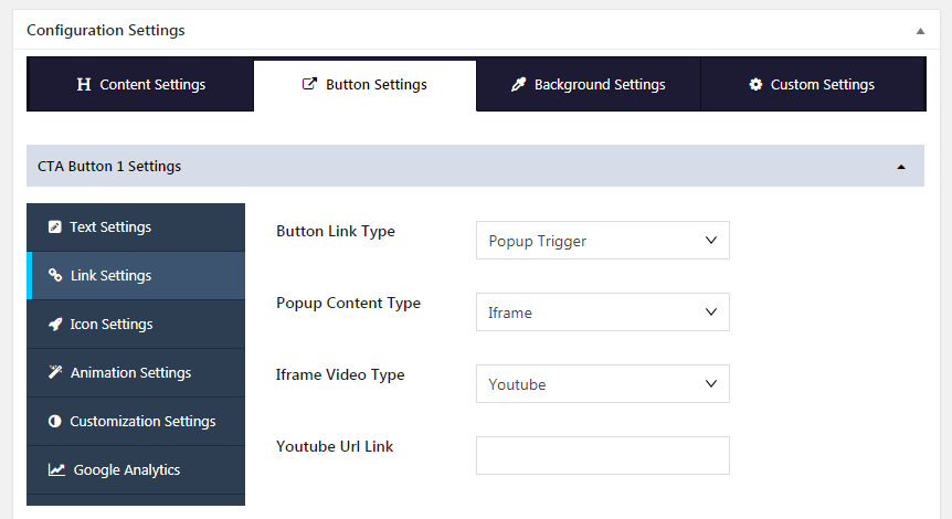 Inline CTA Builder Button Settings
