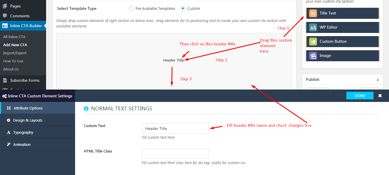 Inline CTA Builder Custom Design Settings